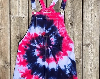 Tie Dye Red, White and Blue Overall Dress - 4th of July - America - Sizes: S-L