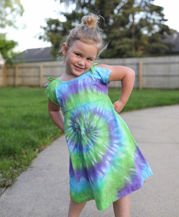 Hippie Girl Dress Hand dyed Kids Clothing Tie Dye Girl Clothes | Girls Tie Dye Dress Size 4T-5T Girl Boho Dress