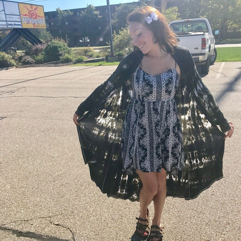 Fashion Fall Trendy Tie Dye Cardigan Sizes: S-2XL Hippie Long Cardigan Tie Dye Sweater