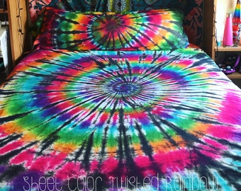 Tie Dye Bedding - Tie Dye Sheets - Tie Dye Duvet Cover - Tie Dye Pillow Case - Tie Dye Body Pillow Case - Michigan - Custom Tie Dye Bedding