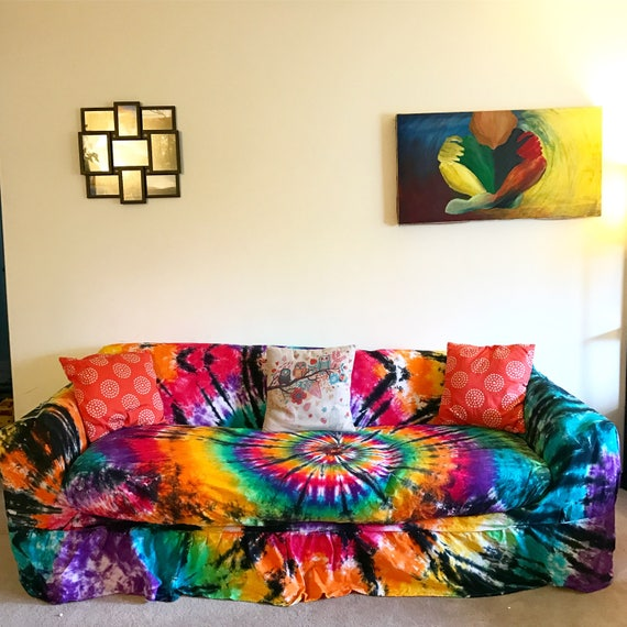Tie Dye Couch Slipcover Hippie Room Tie Dye Home Decor Etsy