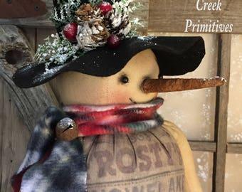 Primitive snowman|Folk Art Snowman|Handmade Snowman|Vintage Snowman|Country Snowman|Rustic Snowman Doll|Christmas|Sack Snowman