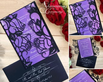 rose garden laser cut wedding gatefold invitation romantic roses flowers printed customizable