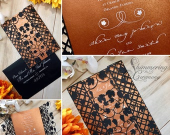 vineyard laser cut gatefold wedding invitation grapes and leaves wrapped around trellis invite
