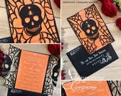 Skull invitation spider web wedding Halloween party spooky laser cut gatefold all hallows eve invite