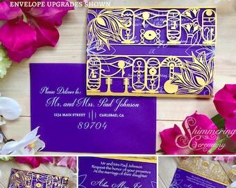 Egyptian hieroglyph laser cut gatefold wedding invitation Egypt party lotus flowers eye of horus