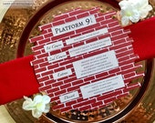 Harry Potter inspired laser cut brick charger menu card Platform 9 3/4 themed party wedding place setting