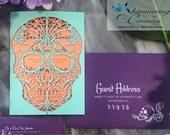 Day of the Dead wedding invitation laser cut sugar skull Detailed flowers dia de los muertos party