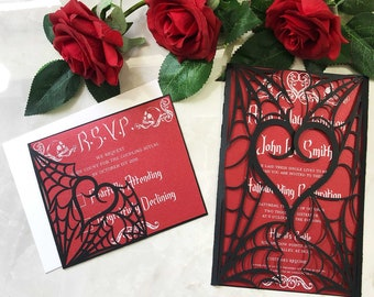 gothic spiderweb halloween wedding invitation laser cut gatefold spooky love heart party