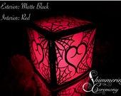 Gothic Spiderweb Intertwined Heart Laser Cut Paper Lantern Luminary Centerpiece