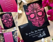 Day of the Dead wedding invitation laser cut sugar skull Detailed flowers dia de los muertos party