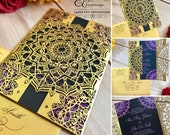 Mandala laser cut wedding invitation Indian gatefold exotic boho party cooperate event invite
