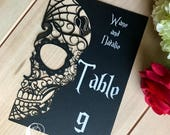 Skull Laser Cut Table Numbers Day of the Dead paper halloween sugar skull with easels included customizable