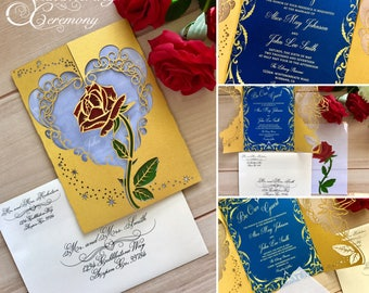 Beauty And The Beast Wedding Invitations Etsy