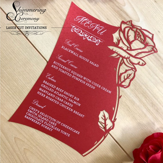 Schönheit und das Tier Menü Karte mit Laser geschnitten Tasche Rose Hochzeit Briefpapier