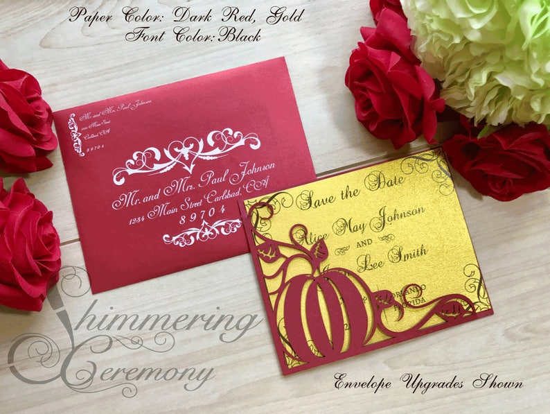 Pumpkin inspired Save the Date laser cut card pocket for cinderella or fall wedding