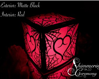 Gothic Spiderweb Intertwined Heart Laser Cut Paper Lantern Luminary Centerpiece