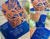 Steampunk octopus laser cut invitation wedding event invite themed party announcement