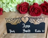 Spider web place cards laser cut name escort tags halloween gothic table setting spooky printed