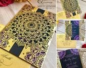 Mandala laser cut wedding invitation Indian gatefold exotic boho party cooperate event invite