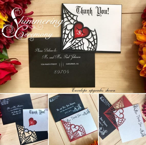 Gothic Spiderweb Halloween Thank You Card Wedding Party Card Etsy