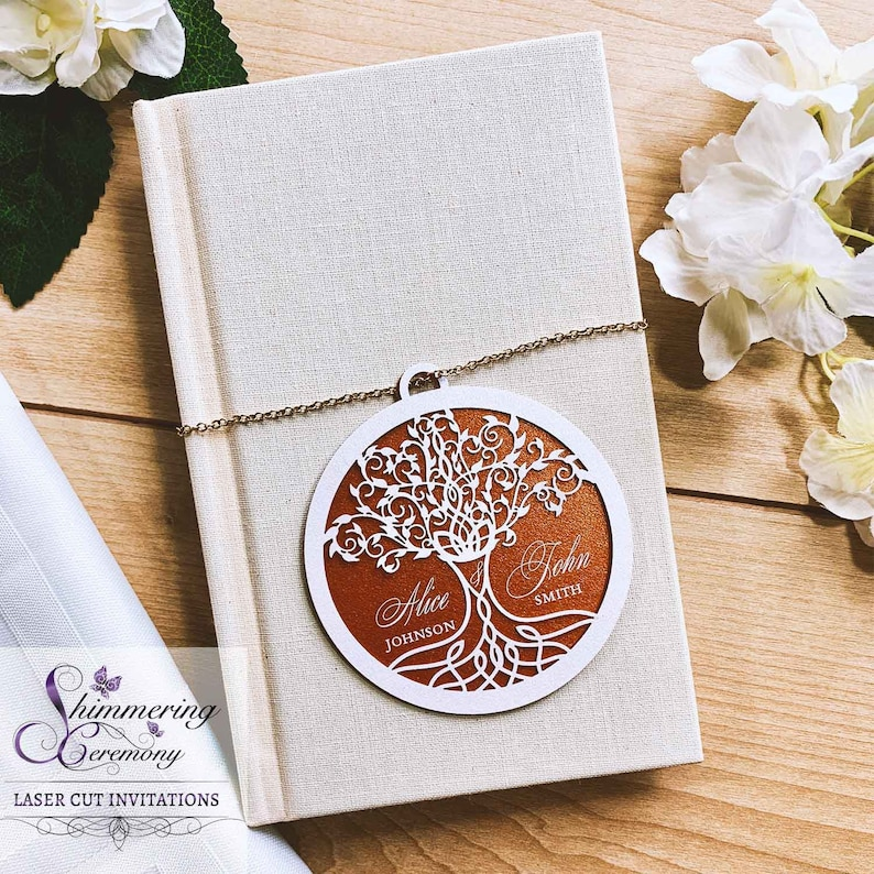 Tree of life favor tags laser cut personalized Celtic party decor custom printed wedding gift tags elvish