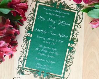 Elvish Wedding Invitation laser cut Elf Inspired lord of the rings party invite customizable Zelda love always