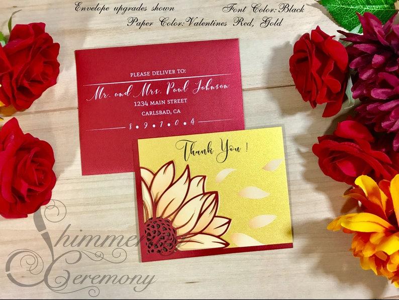 Sunflower rustic laser cut thank you card wedding birthday party flower gratitude