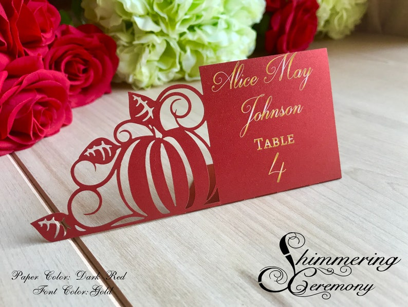 Pace Cards for Parties Dark Colour Gold Text Wedding Table Name Place Cards