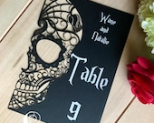 Skull Laser Cut Table Numbers Day of the Dead paper halloween sugar skull  customizable
