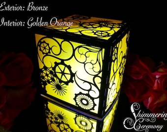 Steampunk Laser Cut Paper Lantern Luminary Centerpiece