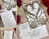 laser cut invitation pinecone heart winter wedding invite gatefold heart grapevine wreath and berries fall rustic forest