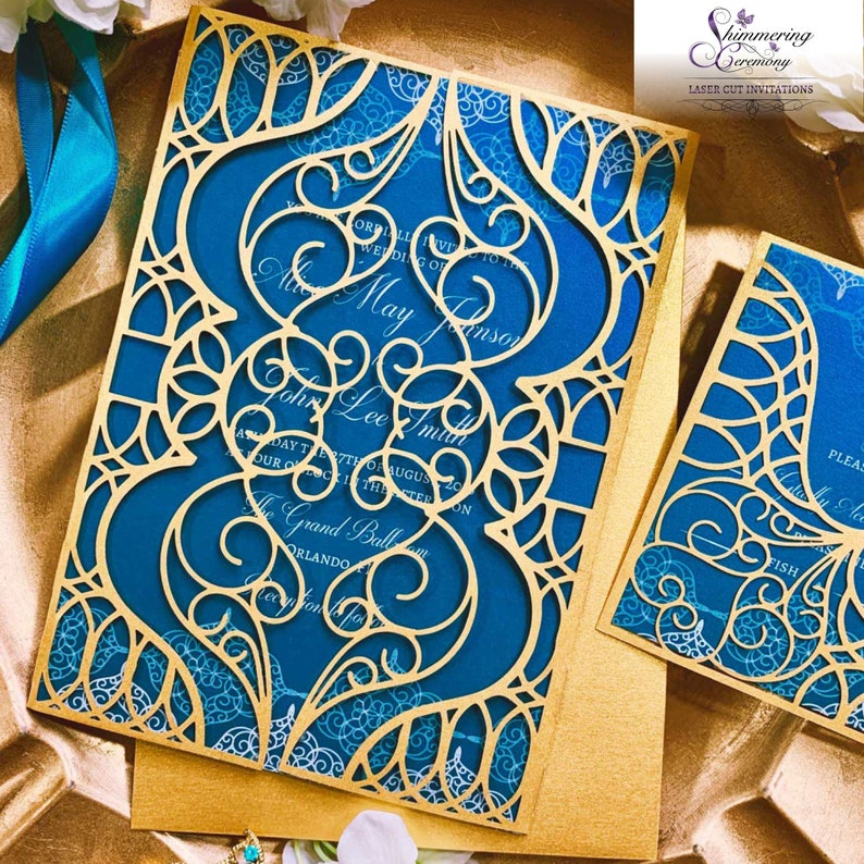 Moroccan-Themed Arabian Nights Wedding and Party Invitation in Blue and Gold