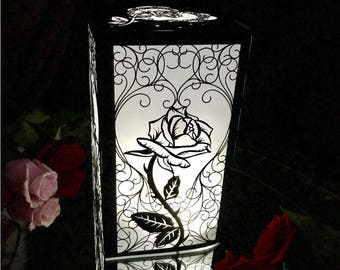Beauty and the Beast Rose Centerpiece Large Laser Cut Paper Lantern Luminary