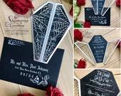 coffin gatefold laser cut wedding invitation shaped gothic invite spider webs halloween skeleton party