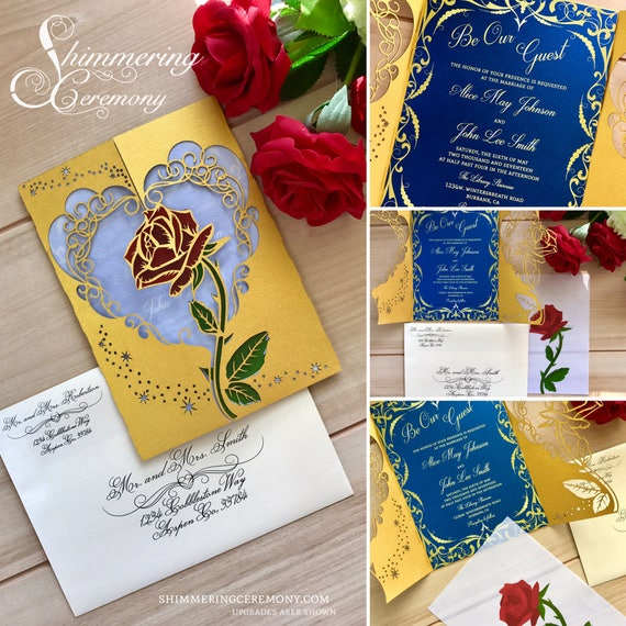 Invitations Wedding Ideas: Beauty And The Beast Inspired Wedding Invitation Laser Rose