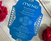 Moroccan laser cut program menu card boho party Arabian nights exotic romantic Indian wedding