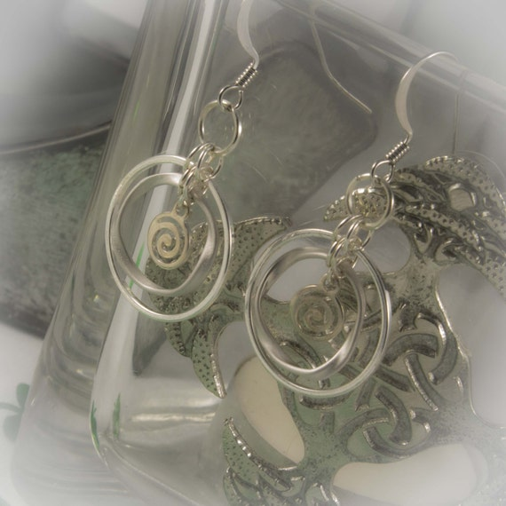 Celtic Jewelry - Eternity Circle Earrings with Spiral Charms