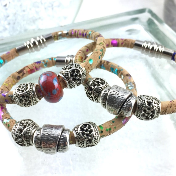 Vegan Leather Sparkle Bracelet with Silver Tibetan, Focal Beads