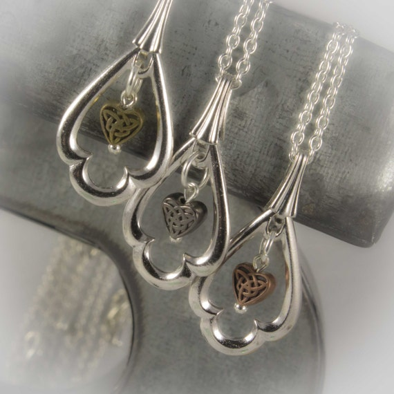 "Celtic Jewelry Collection - ""Celtic Sisters Set"" Tierra cast fancy teardrop pendant necklaces with Irish knot heart in three finishes"