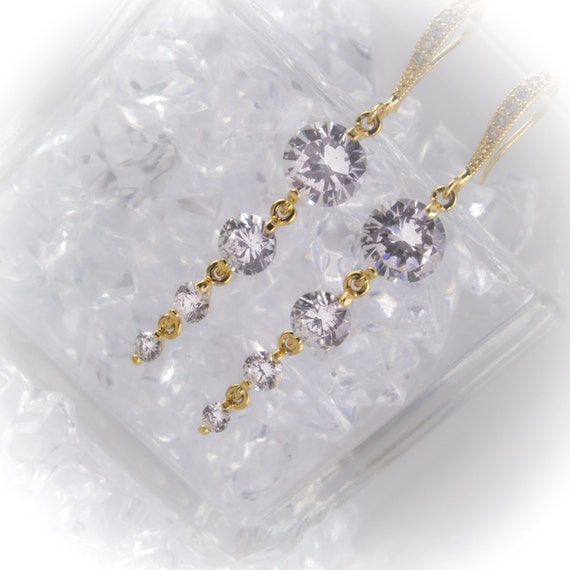 Four stone cubic zirconia drop Bridal earrings with Sterling silver or 16K gold ear wires
