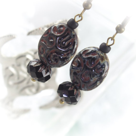 Czech glass jet black swirl Picasso Boho earrings on antique bronze