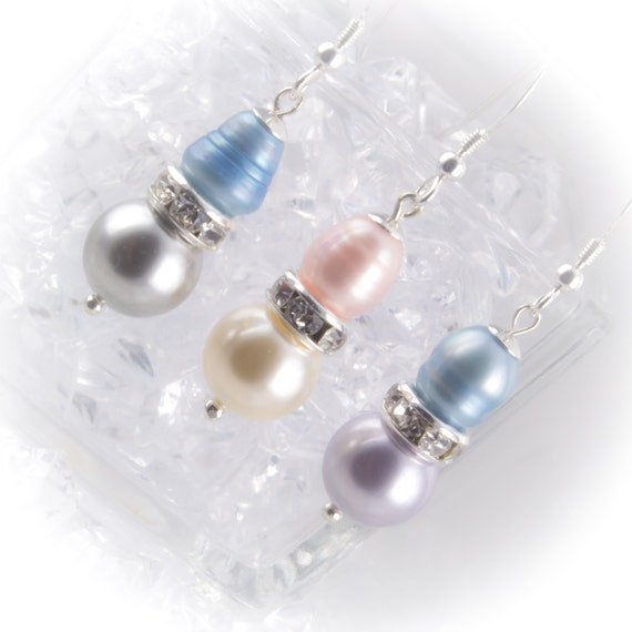 Sterling silver pearl drop Bridesmaid earrings with freshwater and Swarovski pearls and rhinestone rondelles