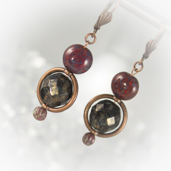 Czech glass earthy red and jet bronze Picasso beads and copper