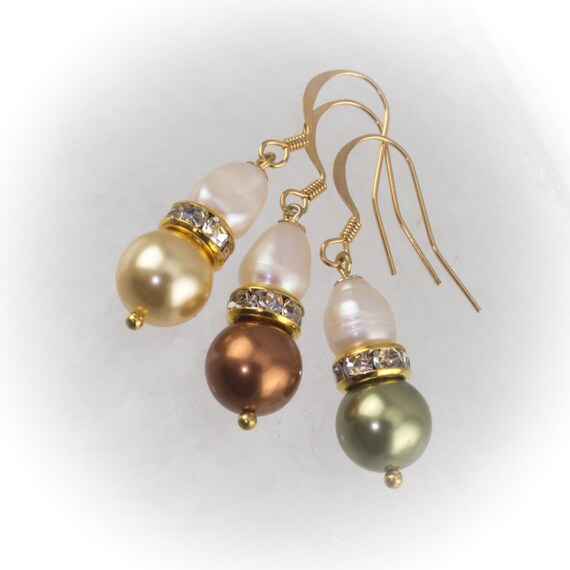 Pearl drop Bridesmaid earrings with freshwater and Swarovski pearls and rhinestone rondelles