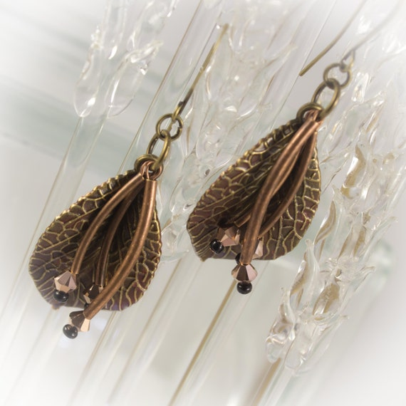 Fall Leaves and stems brass and copper earrings
