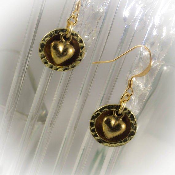 Celtic Hammered copper and gold earrings with gold puffy heart charm.