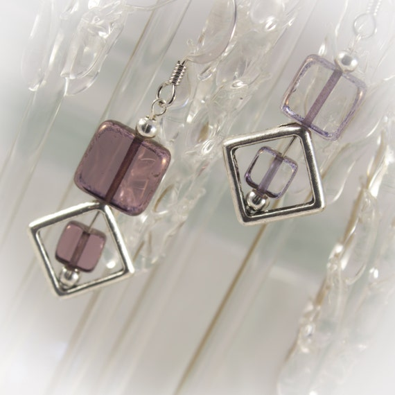 Antique Silver and Glass square Geometric Earrings