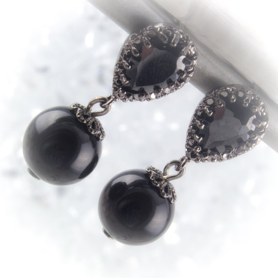 Midnight black pear cut glass stone dangle earrings with black silver on Sterling silver posts 219945ESS