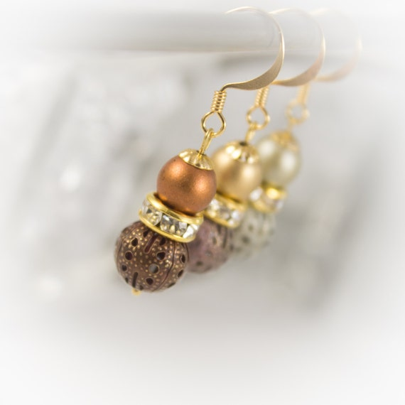 Gold bridesmaid earrings with Matte pearls, lustre rhinestone rondelles and patina filigree